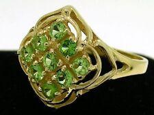 R156- Genuine 9ct Solid Gold Natural TSAVORITE- Green Garnet Cluster Ring size N