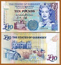 Guernsey, 10 pounds, ND (1996) P-57 (57c), QEII, UNC > Low S/Ns