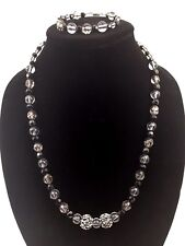 Black White Clear Shiny Beads Handmade Necklace Bracelet 2 Piece Set Screw Clasp