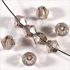30 Perles Tchèques Toupies en Cristal 6mm Black Diamond