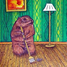 woodchuck art coaster tile gift new animals impressionism modern spring cleaning