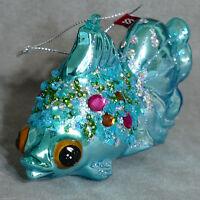 "Christmas Ornament Glass VX GOLDFISH POLONAISE Glitter Blue 4.5"" USA SELLER"