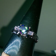 ELEGANCE MYSTIC RAINBOW CREATED HEART TOPAZ + SILVER RING SIZE S1/2