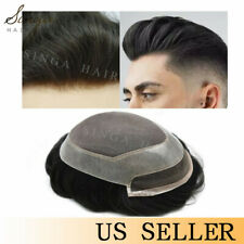 French Lace Mens Toupee Mono Poly Skin Hairpiece Natural Hair System Replacement