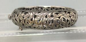 Silpada Sterling Silver Filigree Floral Hinged Bangle Bracelet