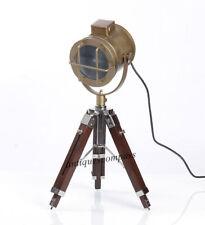 SPOT LIGHT BROWN WOODEN TRIPOD LAMP MARINE NAUTICAL TABLE LAMP HOME DECOR