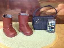Authentic American Girl Doll Clothes/Shoes NICKI'S WESTERN BOOTS, PURSE & PHONE