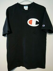 Champion T Shirt Big Logo Heritage Tee Mens Large Black