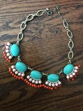 "J.Crew Bead And Fringe Necklace Persimmon Turquoise 18"" Adj"