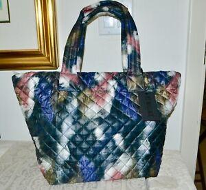 New $235 MZ WALLACE MED METRO Tote Bag Fur Print Nylon Leather Trim