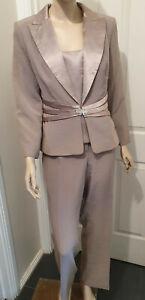 Anthea Crawford brushed gold three piece pant suit pants jacket Cami Size 14