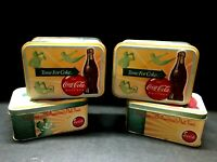 4 vintage COCA-COLA time for Coke metal TINS from coke brand watches