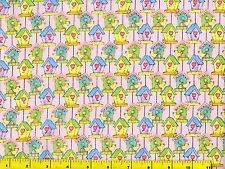 Small Yellow Green Pruple Blue Bird Houses Quilting Fabric by Yard  #620