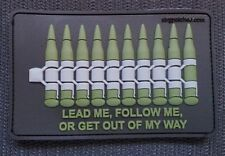 "PVC BULLET 3D PATCH s3 ammo ""GET OUT OF MY WAY"" MOLLE DEVGRU olive OD Hook"