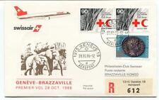 FFC 1986 Swissair First Flight Geneve Brazzaville Kongo REGISTERED Crox Rouge