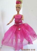 BARBIE DOLL Blonde Long hair Pink dress & pink skirt & pink high heels
