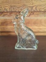 Vintage JH Millstein Co Jeannette PA Glass Rabbit Candy Container