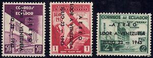 1943 Ecuador SC# C111-C113 - Visit of Pres. Isaias Angarita of Venezuela - M-H