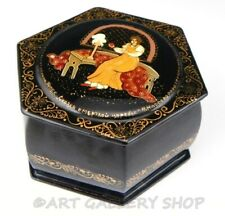 Vintage Russian Lacquer Box Palekh HANDPAINTED FAIRY TALE  Artist Signed