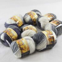 SALE 8 Skeins x 50gr NEW Chunky Colorful Hand Knitting Wool Yarn 804 Grey White