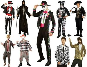 Adult Halloween Costumes Mens Cosplay Skeleton Clown Costume Scary Funny Fancy
