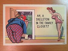 Vintage Linen Humor Postcard - Cheating Wife - Man Hiding in Closet