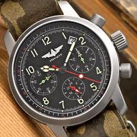 Herrenuhr PILOT Chronograph Poljot 31681 SAPHIRGLAS russische mechanische Uhr