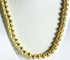 "87.60 gram 10K Yellow Gold Men's Women's Bead Moon Cut Chain Necklace 34"" 10 mm"