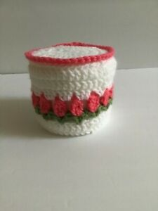 Toilet Tissue Cover Handmade Crochet Pink Tulips with White & Green