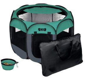 Portable Foldable Pet Playpen + Free Carrying Case + Free Travel Bowl