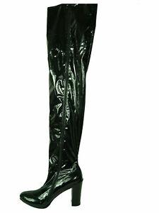 Crotch lack pu Schwarz, Gr. 40 - 47  RV, neu, 11 cm Absatz, Länge 92 cm PL