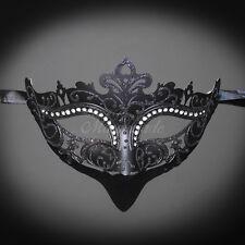 Classic Mardi Gras Venetian Masquerade Mask for Women M7105 [Black]