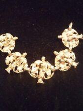 ANTIQ. Chinese Export Gold Vermeil Bracelet/Gilt Raised Carved Geisha Lady w/fan