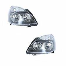 Renault Clio Mk2 Hatchback 4/2001-2005 Black Headlights Headlamps Pair O/S & N/S