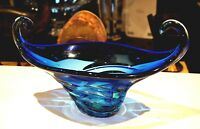 Beautiful Vintage Murano Blue Glass Centerpiece
