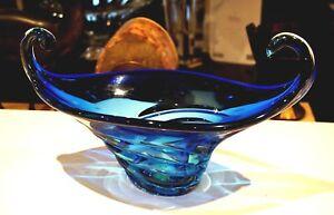 Beautiful Vintage Murano Blue Glass Centerpiece