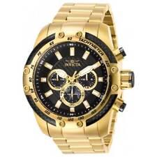 Invicta Men's Watch Speedway Chronograph Black Dial Yellow Gold Bracelet 28658
