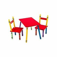 CHILDREN KIDS STUDY DESK TABLE & CHAIRS SET FUN CRAYON DESIGN