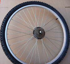 "26"" COMPLETE  Rear Alloy Mountain Bike Wheel 7 Speed Shimano & Tyre & Innertube"