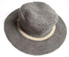 NEW-RARE POLO Ralph Lauren Gray W/ White Stripe Knit Wool Bucket Hat OSFM