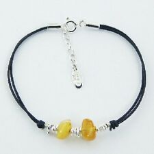 Silver & Leather bracelet 925 sterling beads & Amber gemstones 180mm Adjustable