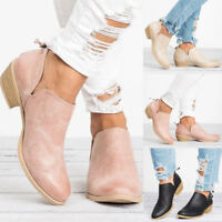 Womens Low Heel Round Toe Casual Boots Ladies Zipper Ankle Booties Shoes Fashion