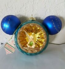 DISNEY Mickey Mouse Icon Glass Christmas Ornament TINKER BELL & PETER PAN New