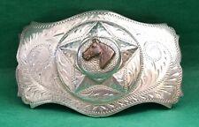 VTG Spectacular STERLING SILVER Irvine Jachens Western Star & Horse BELT BUCKLE