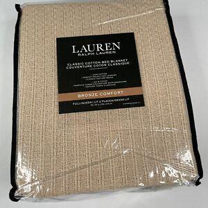 Ralph Lauren Bronze Comfort Full/Queen Cotton Bed Blanket Taupe - Texture Weave