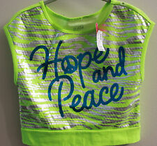 NWT JUSTICE HOPE PEACE NEON GREEN Sequin blue green shirt girl sz 14