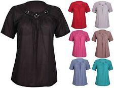 Womens Plus Size Short Sleeve Ladies Crinkle Ring Tunic Plain Smock Top T-Shirt