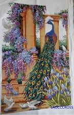 "New Completed finished cross stitch needlepoint""PEACOCK""home decor gifts"