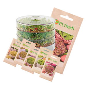 3 TRAY SEED SPROUTER + 6 x SEEDS SPROUTING GERMINATOR SET KALE BEETROOT ALFALFA
