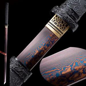 Black Dragon Ninja Blue Red Damascus Folded Steel Japanese Samurai Sword